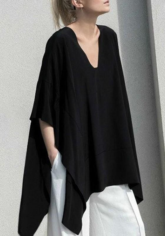 f1aa0a25b434 Black Draped Plus Size Batwing Sleeve V-neck Oversized Casual T-Shirt