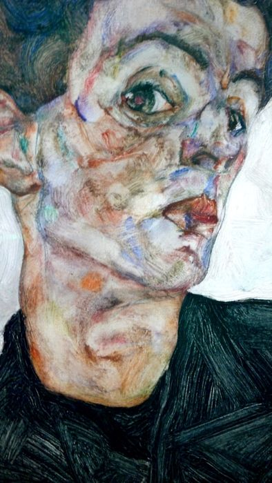 Egon Schiele. Notice the blue-violet mark on the cheekbone. Inhale.