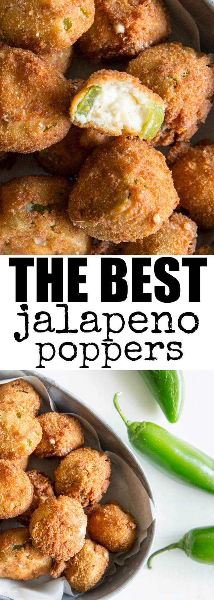 Bite-sized Jalapeno Poppers with an extra-crunchy coating and two kinds of cheese in the filling! Your favorite flavors without the exploding peppers. via @culinaryhill