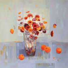 Kirsty Wither - a very typical painting of flowers in a vase