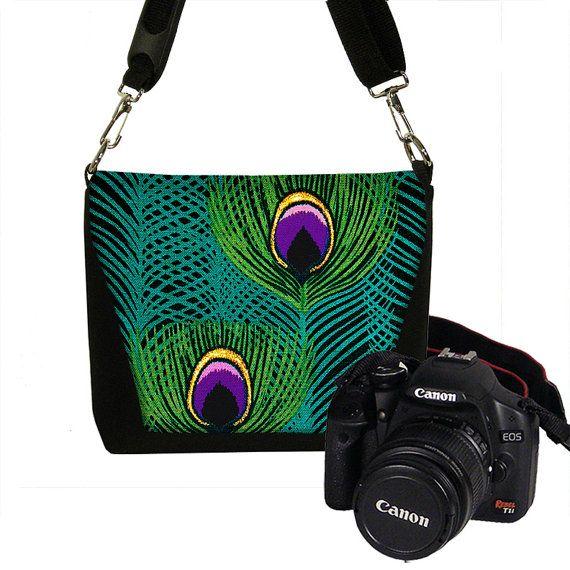 Small Digital Camera Bags Slr Camera Bag MINI Dslr Camera Bag Purse Peacock Feathers teal purple (RTS)