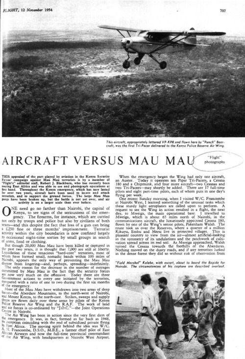 Aircraft versus Mau Mau Flight, 12 de noviembre...