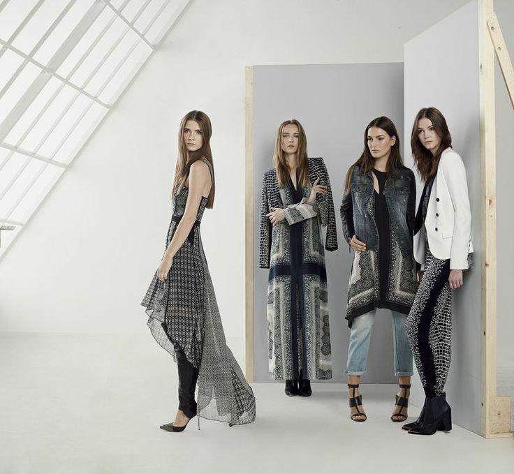#BCBG #Spring2014 #fashion #model #bonchic #black #white #heels #wedges #jumpsuit #dress #pants #jeans