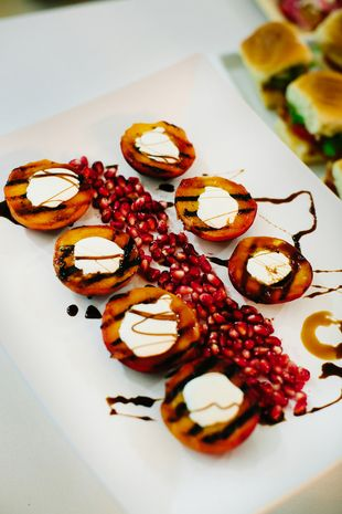 Southern wedding food idea - grilled peaches with balsamic drizzle {Al Gawlik Photography}