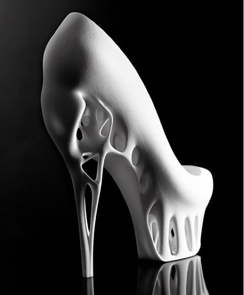 A bird's skull inspired the hollow heel of these 3D-printed shoes by Dutch fashion designer Marieka Ratsma and American architect Kostika Spaho. Wow cool