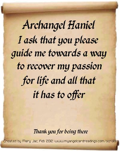 Archangel Haniel  Guide me to recover my passion for my light work to be confident in my abilities so i can guide and help other as i know this is my calling ~Thank you