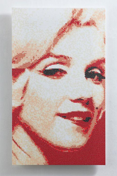 no.5-Ⅲ, 111x66(cm), stickers, acrylic board, 2016. by Choi zan. #choizan #artist #artwork #marilynmonroe #stickers #contemporaryart #art #arte #koreanartist #asianartist