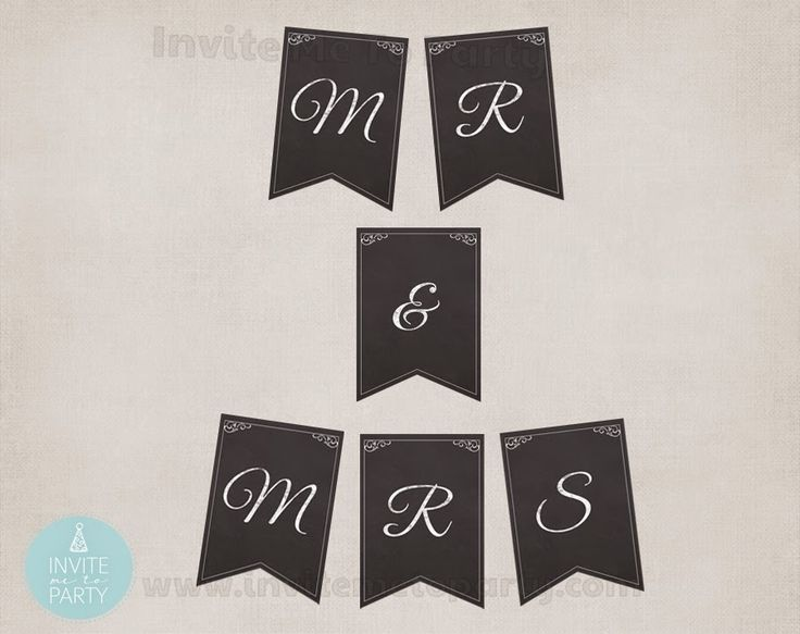 Invite Me To Party: PRINTABLE Mr & Mrs Chalkboard Bunting