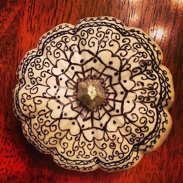 Elaborate Sharpie Patterns: A white pumpkin is the perfect canvas for Sharpie designs, so go crazy!