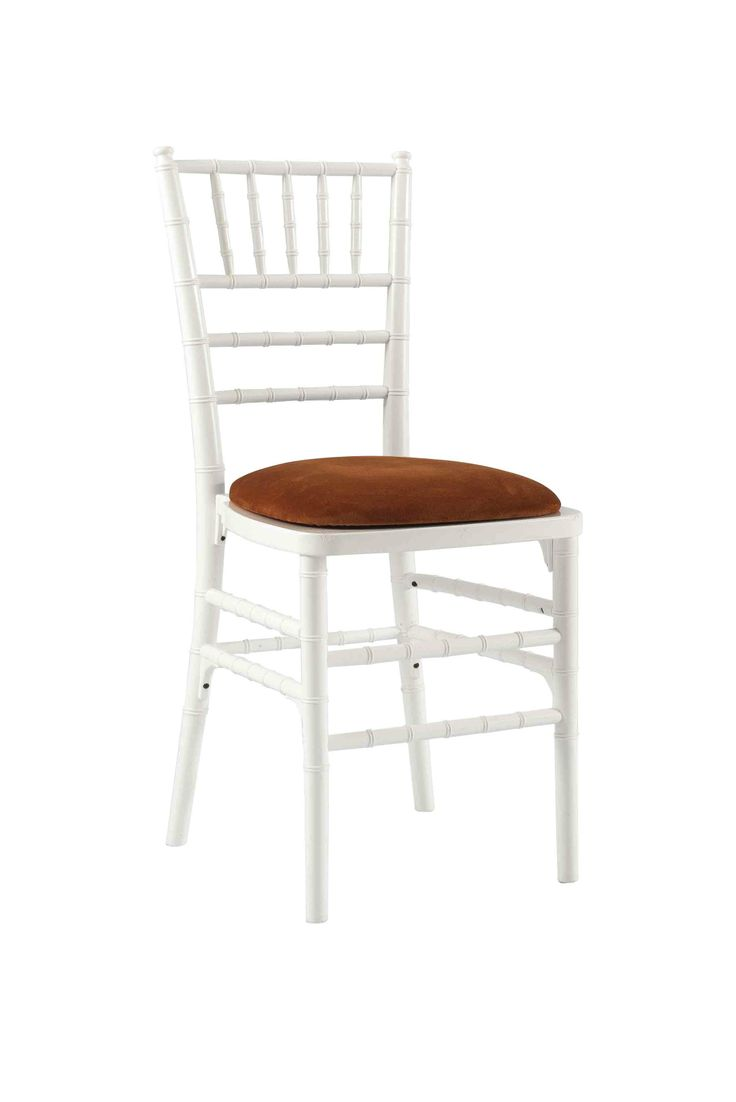 White Chivari with Orange Seat Pad, Is a modern design stackable eco-friendly resin chair, shown here with a Orange seat pad but is also available in various coloured seat pads. http://www.eventhireonline.co.uk/chairs/chivari