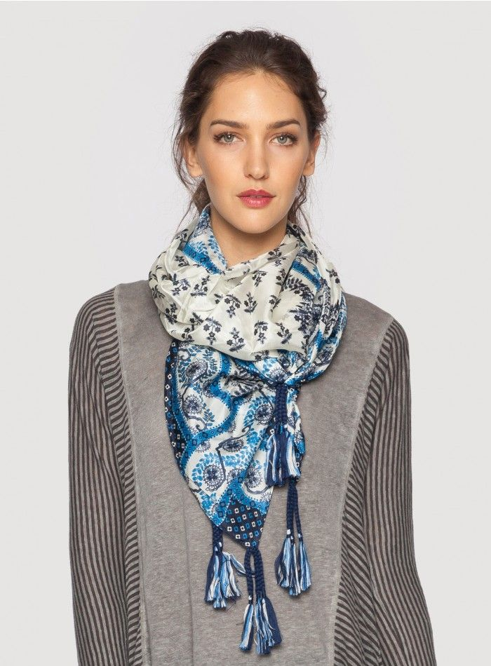 Popely Scarf The Johnny Was Signature Silk Popely Print Scarf features an elegant geometric design inspired by Dutch Folk Art in chic hues of blue and cream. Add rich color and unique pattern to your outfit by accessorizing with the Popely Print Scarf! Try this luxurious silk scarf draped, wrapped, or knotted for many different looks.  - 100% Silk - Measures 43
