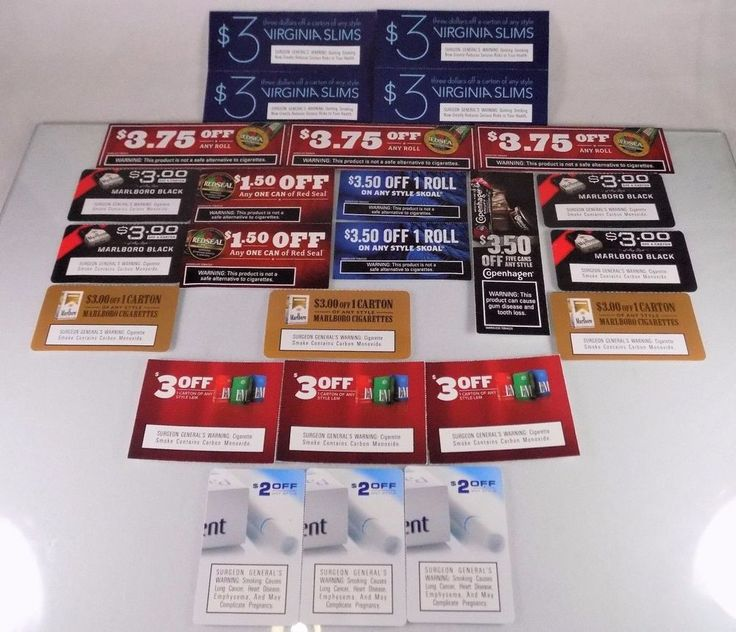 #Marlboro Virginia Slims #Skoal Red Seal Parliament and L&M 25 piece/count pc. #cigarette pack carton #tobacco #snuff paper card manufacturer's manufacturers manufacturer #coupon #voucher lot/set with $70+ #discounts savings, brand new and unused in original paper card form with clearly scannable UPC bar-codes and stamped expiration dates, brand new and unused…