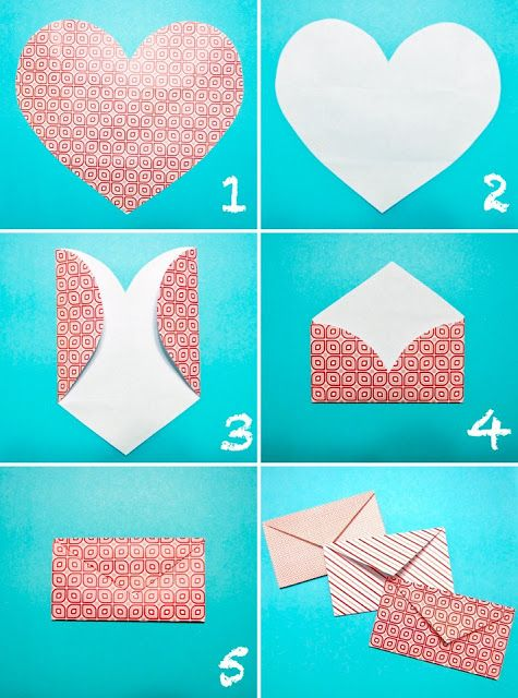 Heart Envelope: simple idea with no glue needed - just a sticker.  jt