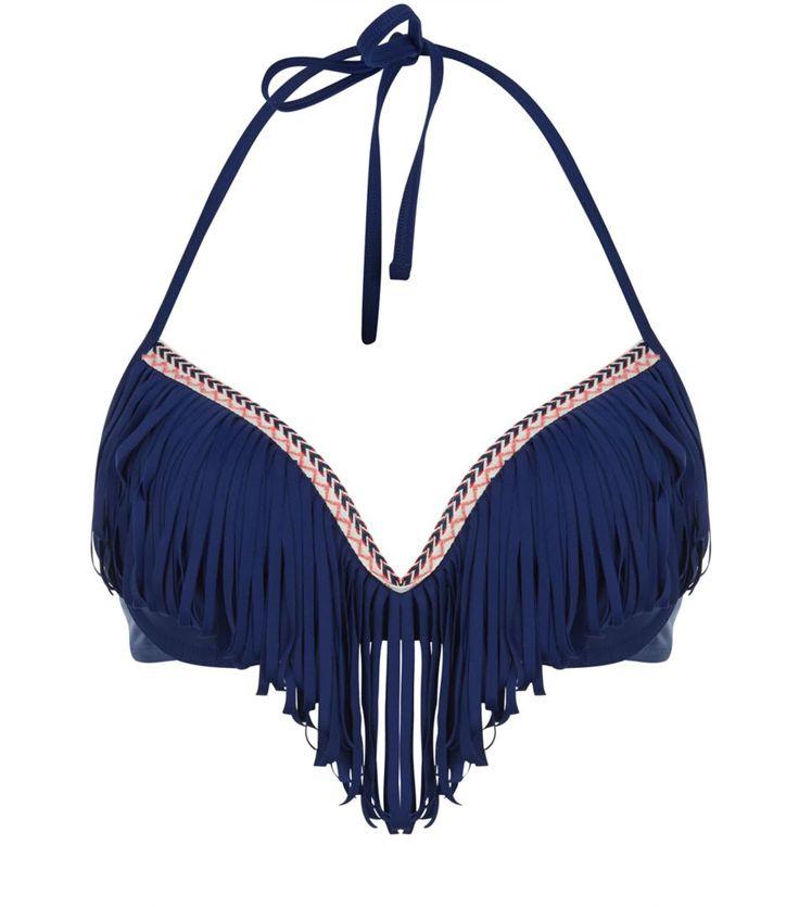 Top de bikini bleu marine à chevrons et franges | New Look