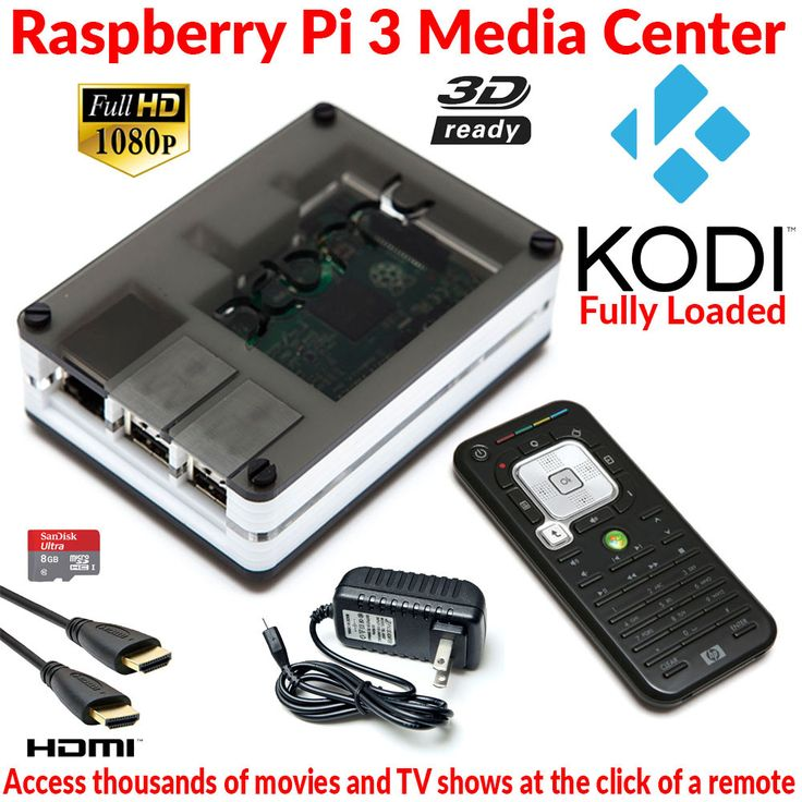 Raspberry Pi 3 Model B Extreme XBMC Media Center B/W