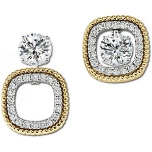Two Tone gold diamond earrings
