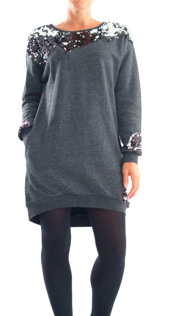 Vestito grigio scuro paillettes