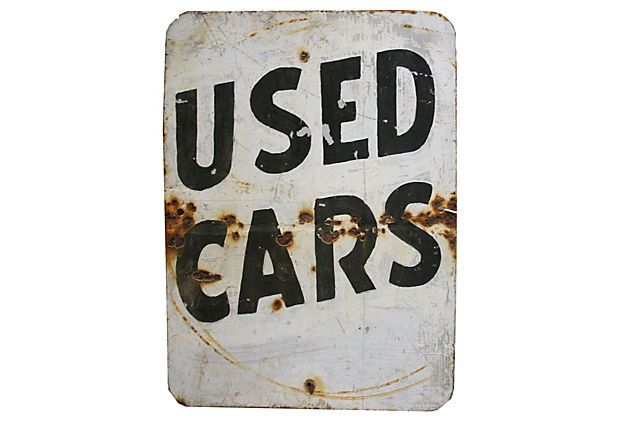 Used Cars Sign on OneKingsLane.com