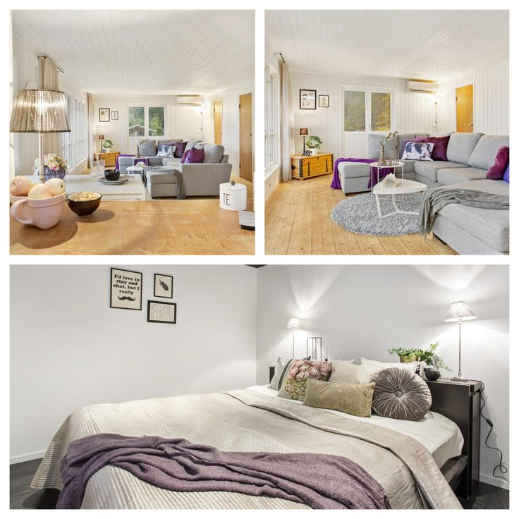 #homestyling i Kungsbacka ett litet hus för Svenskfast Lila, grått vardagsrum och sovrum#