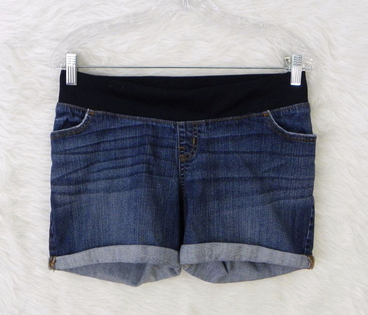 Womens LIZ LANGE MATERNITY Elastic Waist Distressed Denim Blue Jean Shorts SZ S #LizLange #Denim
