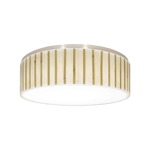 11-1/2-inch wide ceiling trim for recessed lighting with a natural bamboo drum shade and a white acrylic diffuser. Easily converts an existing 5-inch or 6-inch recessed light into a decorative flushmount ceiling light.