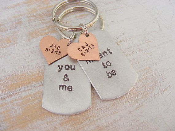 Couples Hand Stamped Key Chains