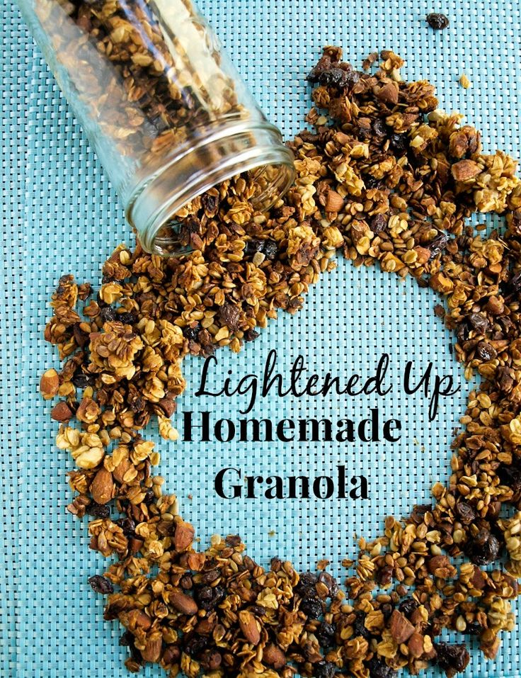 Traditional granola lightened up! Applesauce replaces most of the oil and the sugar is greatly reduced. Crunchy and delicious!