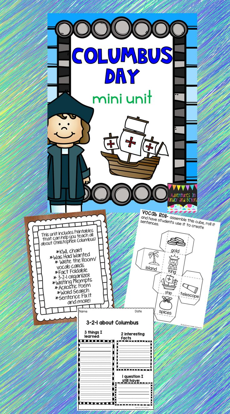 Engage your students in both reading and writing activities with this wonderful mini-unit! This mini-unit touches on the historical information of Columbus with hand on activities.  Included in this mini unit are- *Vocabulary Cards *Write The Room printables *K-W-L *Fact foldables *3-2-1 organizer *Writing Prompts *Describing activities *Compare/ Contrast *Word Boxes *Word Scramble *Acrostic Poem *Word Search *Making Words *ABC Order *Syllable sort plus more!