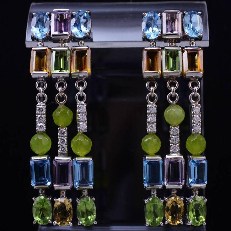 Summer in your ears!) White gold, amethyst, citrine, topaz, chrisolite, diamonds. Лето в ваших ушах!) Белое золото, аметисты, цитрины, топазы, хризолиты, бриллианты. #edjewellery #evgenydanilovjewellery #evgenydanilov #summer #artjewellery #art #jewellerydesign #jewellery #gemstone #earrings #exclusive #diamonds #amethyst  #topaz #citrine #ювелирныйдизайн #ювелир #роскошь #россия
