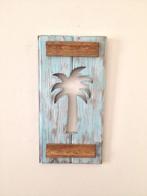 Palm Tree Wall Hanging made from Reclaimed Wood - Light Blue on Etsy, $60.00