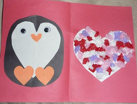 Textured penguin valentine