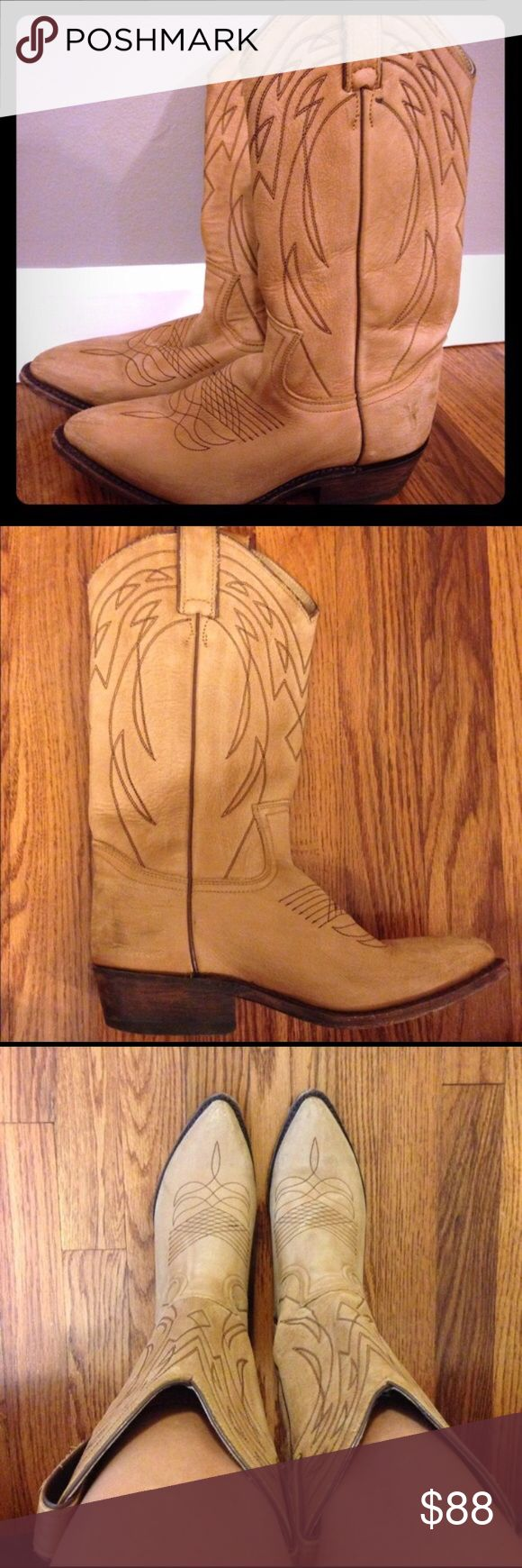 """FRYE Cowgirl Boots FRYE Cowgirl Boots 6 1/2. Some signs of wear but very nice quality!! The back of the heel measures 1.5"""". The length of the shaft is about 12"""" and the circumference at the middle of the shaft is also about 12"""". As seen in pics, style is pre worked at heels and toe. Purchased from another seller but they ended up being too small for me  Retails over $150  Please message me before purchasing! Also feel free to make me a reasonable offer :)  #boots #frye #hunter #cowgirl…"""