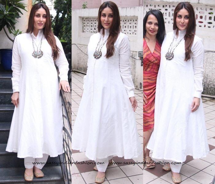 Kareena Kapoor Maternity Dresses, Kareena Kapoor in White Anarkali, Celebrity Anarkali Designs.