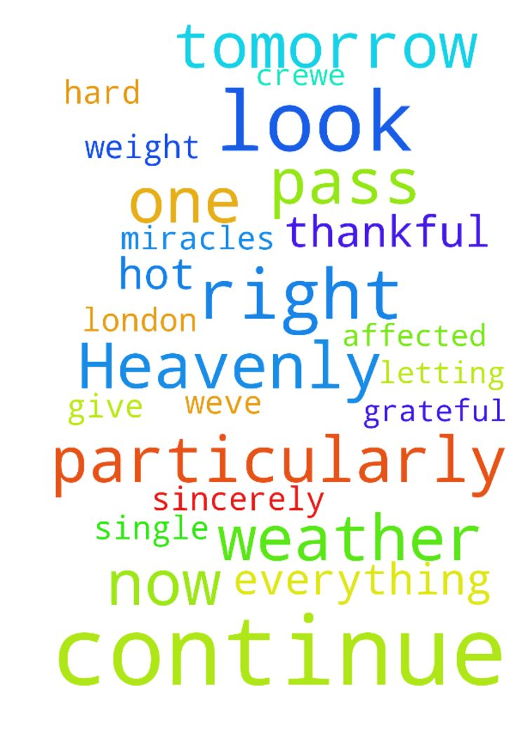 Heavenly father I thank you for everything you do for - Heavenly father I thank you for everything you do for us all, we are so truly, humbly, sincerely and genuinely grateful and thankful. Thank you for letting me pass this PGCE course, I am so thankful, you were there for me every single step of the way. Please let Tommy pass his maths exams, he has worked so hard to revise for them and prepare. Please look after dad when he is in work tomorrow, particularly in this very hot weather weve…