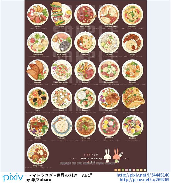 トマトうさぎで世界の料理をA~Zまで描いてみました。料理名は英語じゃないのもちらほら入っています。あと抽象的なので実際の料理、具材と若干違う部分があります。あくまでイメージということで ■クリックする