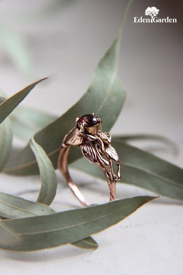 Rose gold engagement ring, pink tourmaline ring, custom engagement ring, leaves ring, nature ring, gold ring, unique engagement ring