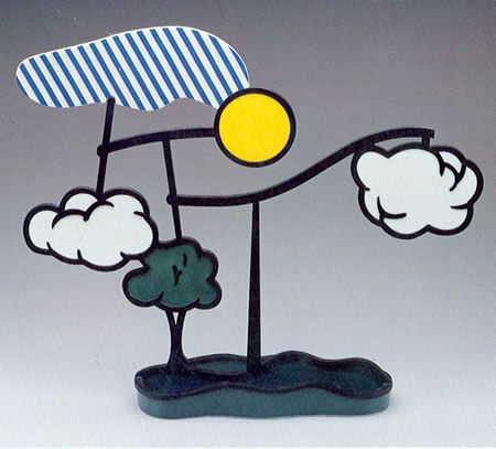 Roy Lichtenstein, Landscape Mobile, 1990 Porcelain and cast resin, 25 x 22 x 5 1/2 in (63.5 x 55.9 x 14.0 cm) Signed and numbered. Edition of 125. See many other Lichtenstein works at http://taglialatellagalleries.com/artist/Roy_Lichtenstein/works/#!1481