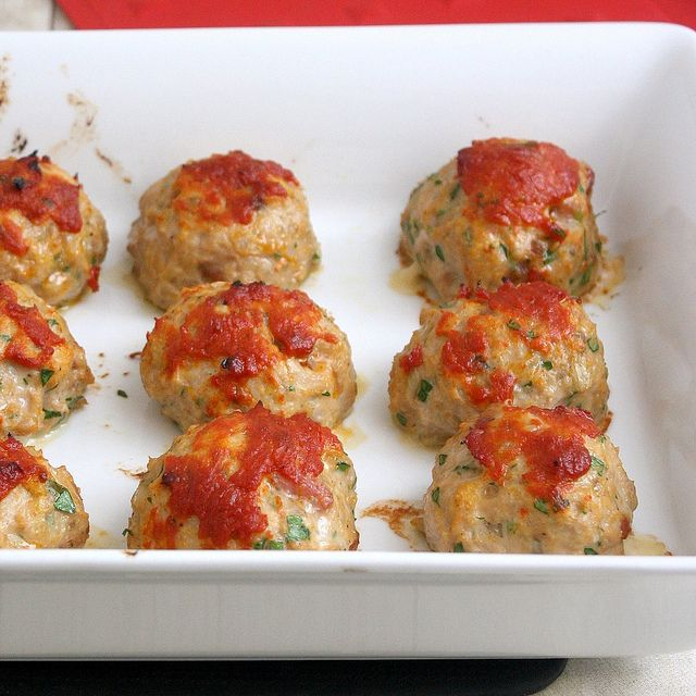 Baked Chicken Meatballs by Tracey's Culinary Adventures.  I'm definitely going to make these.