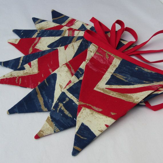Fabric Bunting Nautical Union Jack Vintage  Distressed  Style  Red & Blue   9 double sided Pennant Flags 8 foot long plus ties New Handmade on Etsy, $21.00