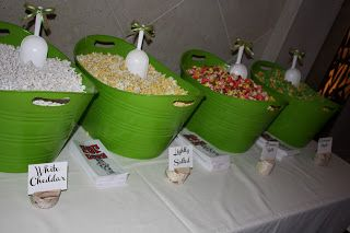 Use $1 store plastic bins and scoops with ribbons - popcorn buffet- lots of fun ideas