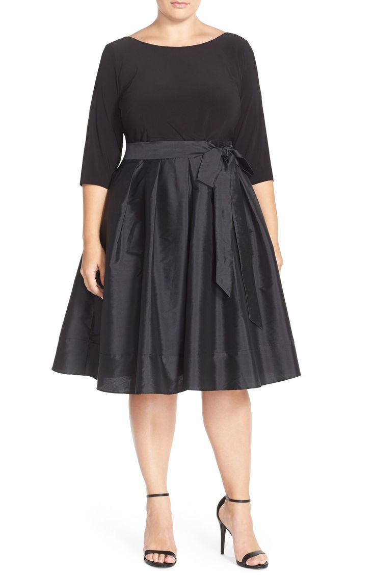 Adrianna Papell Mixed Media Fit & Flare Dress (Plus Size) | Nordstrom