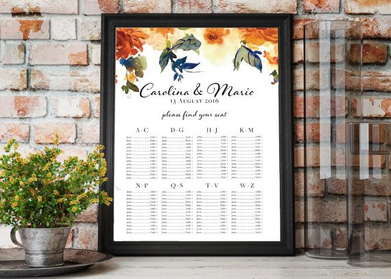 Printable Fall Wedding Seating Chart Place Cards D T S Pinterest Wedding Seating Place