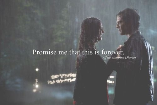 """#TVD The Vampire Diaries  Elena & Damon  """"Promise me that this is forever."""" – Vanessa Poulis"""