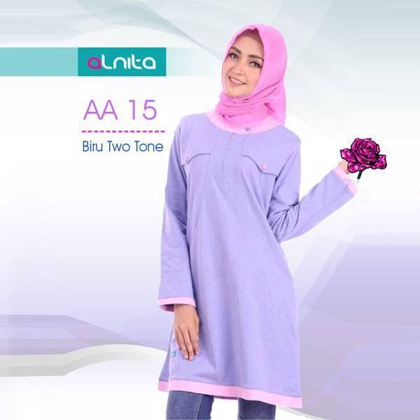 Beli Baju Atasan Wanita Tunik ALNITA AA - 15 BIRU TWO-TONE dari Aprilia Wati agenbajumuslim - Sidoarjo hanya di Bukalapak