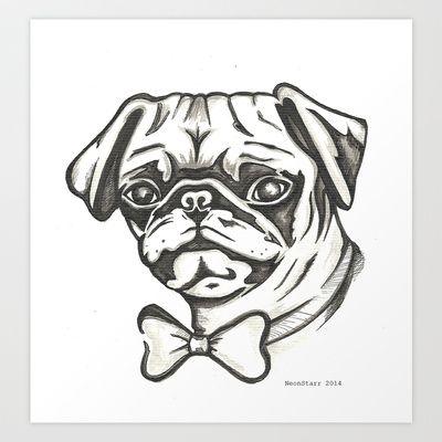 Frankie+the+Pug+Art+Print+by+NeonStarr+-+$17.68