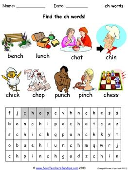 FREE ch phonics lesson plans, worksheets and other teachin
