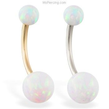 14K Gold Opal Belly Button Ring. Gorgeous.