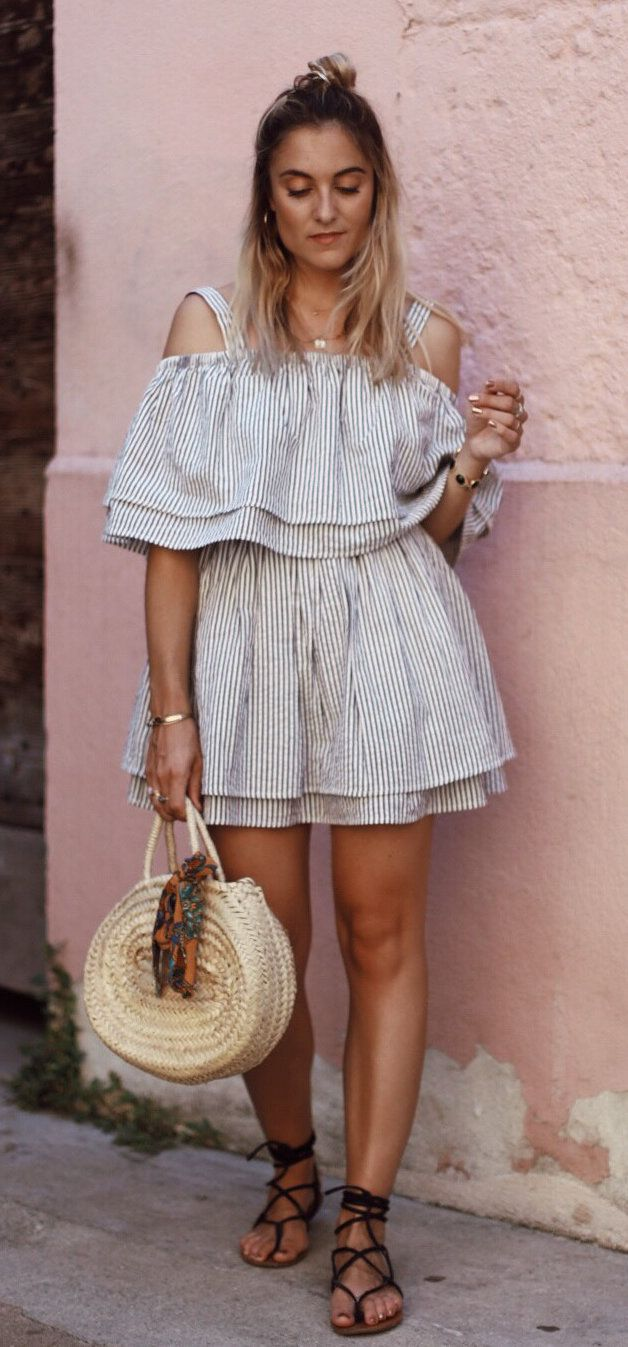 #summer #outfits White Cold Shoulder Dress + Round Tote Bag + Black Sandals // Shop This Outfit In The Link