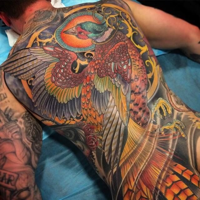 Pheasant back piece by Jeff Gogue. 6 sessions, 40 hours. (Off The Map / Grants Pass, OR)