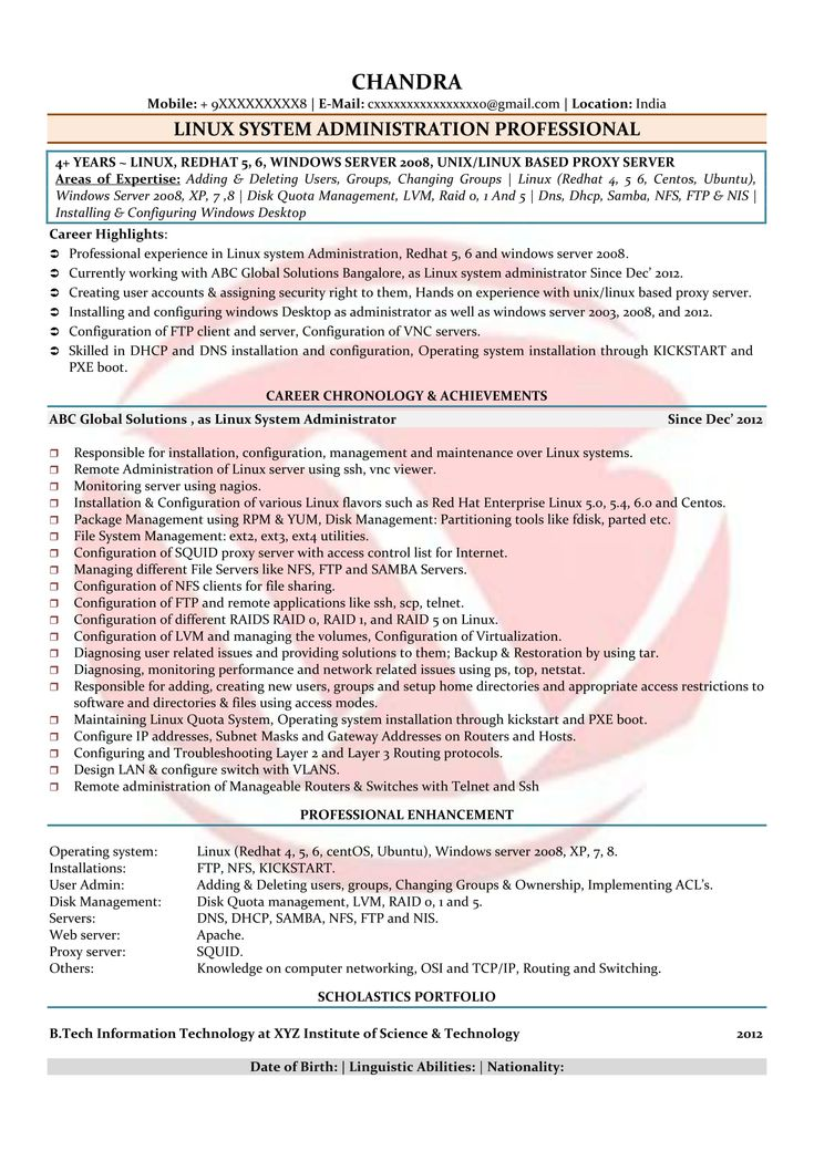 01 Year Experience Resume format for freshers, Resume